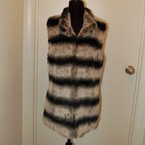 Rachel Zoe Black And White Faux Fur Vest